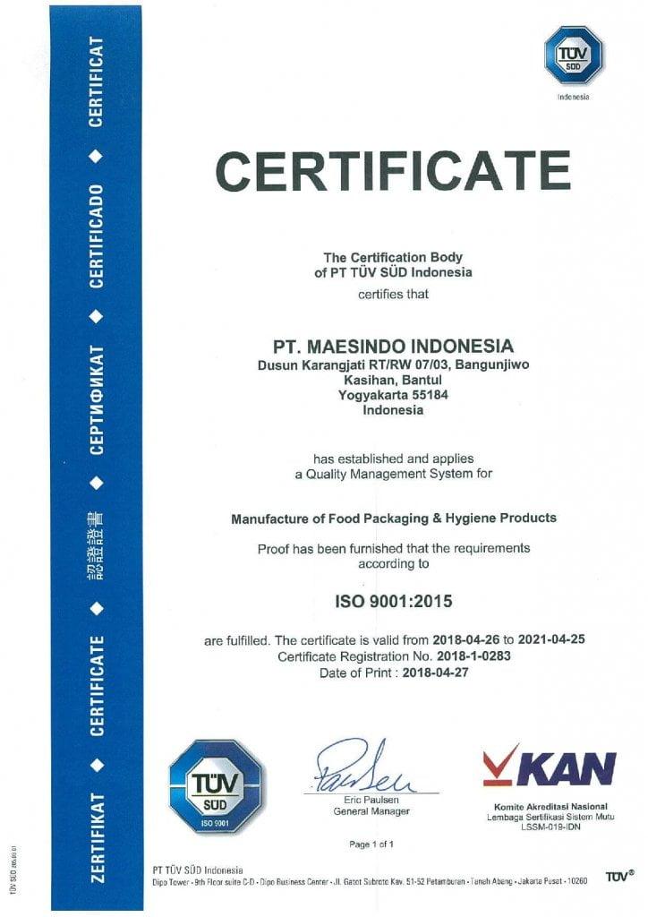 sertifikat ISO 9001 2015