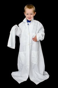 the lab coat on for length